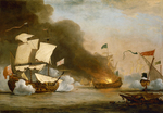 An English Ship in Action with Barbary Corsairs, circa 1680