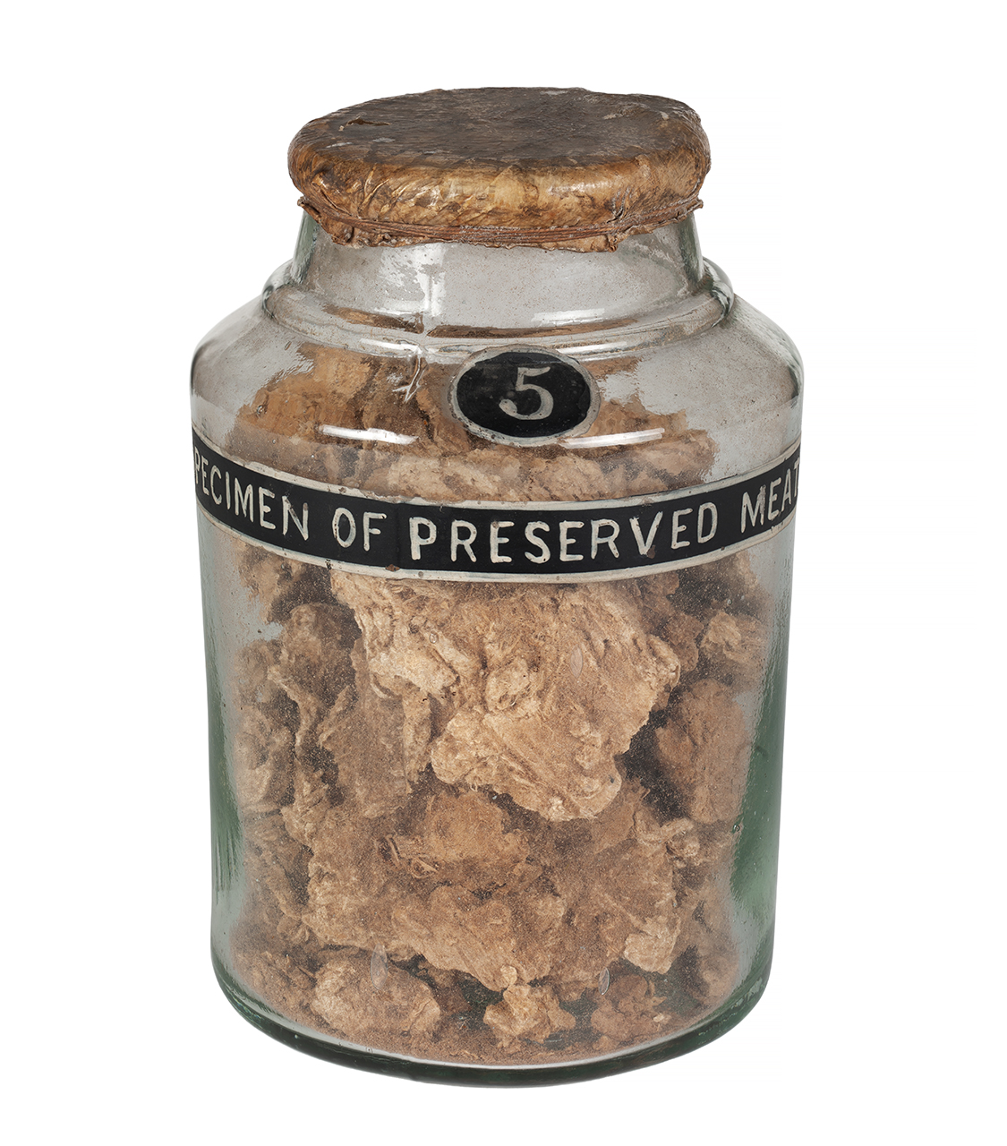 An image showing 'AAA2328; Specimen of preserved meat in a jar No:5'