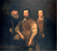 Thomas Cavendish (1560-92), Sir Francis Drake (1540?-96) and Sir John Hawkins (1532-95)