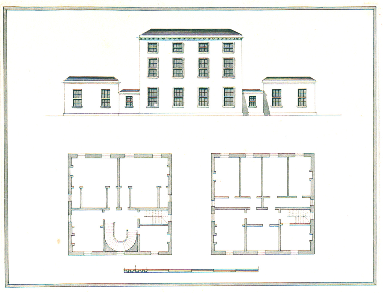 Elevation And Two Ground Plans Of A Three Storey Building With - Ground elevation
