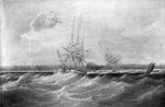 The opium clipper Sylph salvaged by the sloop Clive, 1835